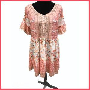 NWT Umgee Floral-Printed Baby Doll Dress M